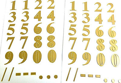 """16mm (0.63"""") Gold Sticky Numbers, Self-Adhesive 0-9 Stickers 59128"""