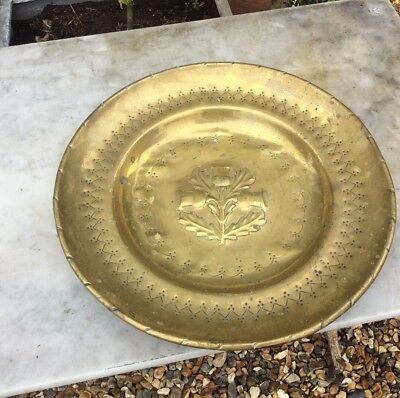 Scottish Large Brass Alms Dish Three Thistles 19th Century