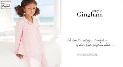 BNW Tags The Little White Company gingham Pyjama set girls Flannel soft 18-24 M