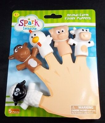 AnImal Farm vinyl finger Puppets Cow Pig Horse Sheep Chicken NEW