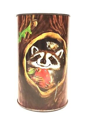 Vintage Tin Can Bank with Raccoon in Tree J.L. Clark Manufacturing Company