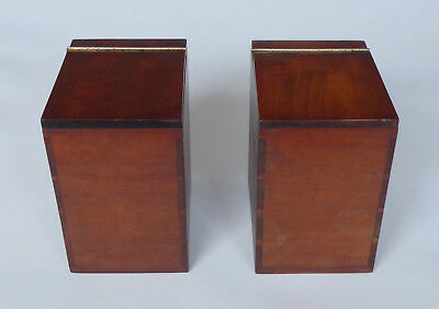 Pair of Antique Solid Mahogany Tea Caddy Canisters with Veneered Satinwood Lids