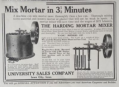 Antique 1913 Ad(F7)~The Harding Mortar Mixer, University Sales Co. Iowa City