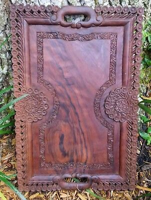 Vintage carved mahogany countertop table coffee tea serving tray footed art deco