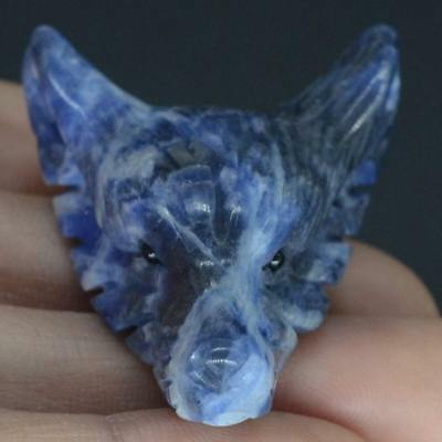 Howling Wolf Blue Sodalite Stone Animal Pendant Hand Carved Necklace Jewelry