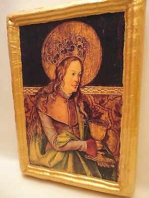 Saint Barbara Rare Christianity Roman Catholic Old World Icon One of A Kind