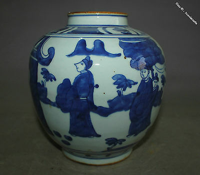 19cm Collect Chinese Old Blue and White Porcelain Handmade Man Pot Jar Jug
