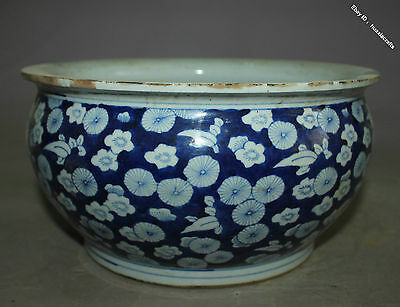 23.5 Collect Chinese Old Blue and White Porcelain Handmade Flower Pot Jar Jug
