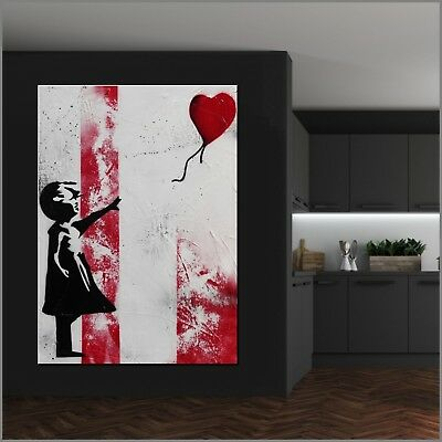 BANKSY RESPRAY (A REAL PAINTING!) FRAMED/GLOSSED 140cm x 100cm Balloon Girl