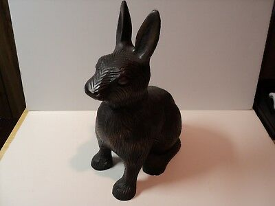 Large Metal Rabbit, Animal with Bronze Color finish. Heavy, Cast Piece.