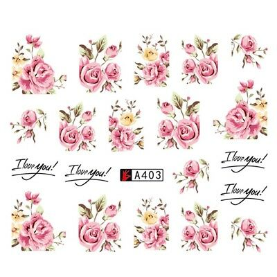 Pink Roses Nail Art Stickers Water Decals Wraps Vintage Flower Wedding A403 uk
