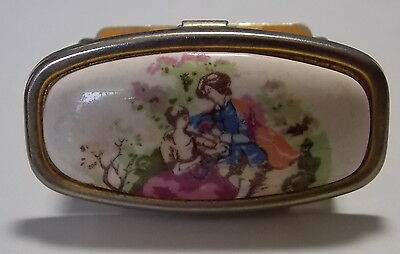 Vintage Gold tone Cameo style French Court Love Lipstick Holder Mirror Compact