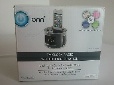 Onn Fm Dual Alarm Clock Radio With Docking Station in Box  S