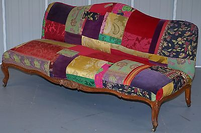 £6000 Rare Lisa Whatmough Victorian Satinwood Patchwork Sofa For Liberty London