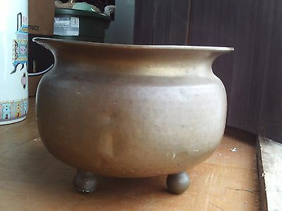 "Antique Russian Signed Urn Planter Hammered Brass Footed Pot 13 1/2"" Wide"