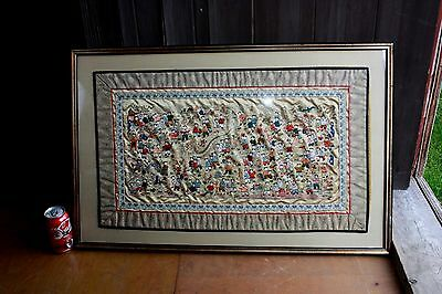 Antique Chinese Silk Embroidery Stiched Dragon Children Large Framed