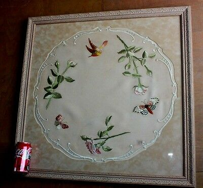 Antique Chinese Silk Embroidery Stiched Birds Butterfly Large Framed