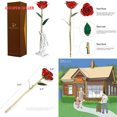 Red Gold Rose, DEFAITH 24K Gold Trimmed Long Stem Real Rose with Moon-shape...