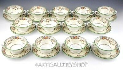Vintage Minton England SHAFTESBURY BOUILLON CREAM SOUP CUPS AND SAUCERS SET 13