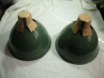Two (2) New Old Stock Benjamin RLM Green Porcelain Light Shades 10""