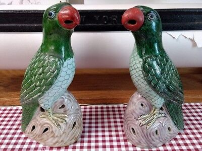 2Pristine Antique Late 19th Century Chinese Export Handpainted Porcelain Parrots