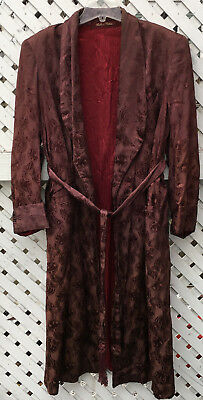 Vintage Rabhor Robes Men's Robe Small or Medium Burgundy Art Deco Pattern GUC