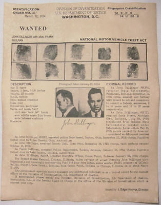 John Dillinger Wanted Poster w/prints, Gangster, Outlaw, Bank Robber