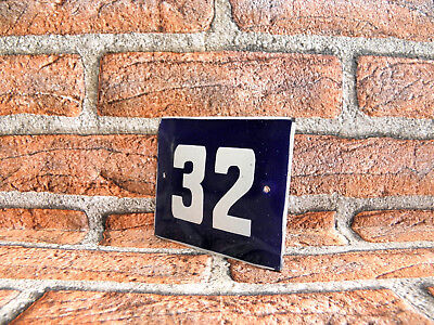 Vintage Sign House Door Number 32, Blue and White Enamel Metal Plate Authentic