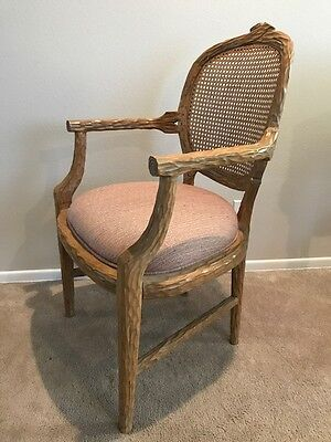Vintage Antique French Cane And Carved Wood Arm Chair