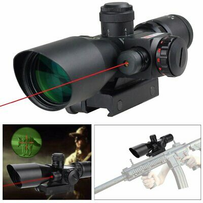 Tactical 2.5-10x40mm Rifle Scope Red Laser illuminated Mil-dot w/ Rail Mounts