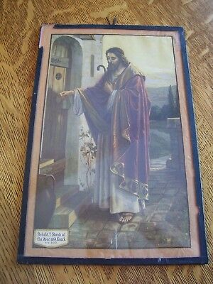 Antique Vtg black tape glass Picture Print Jesus  Very Old stand knock door