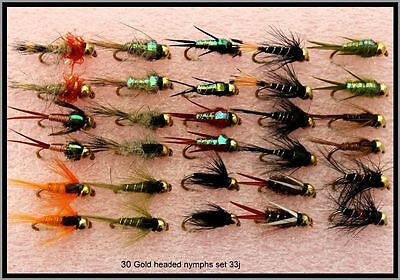 30 x Gold Headed Nymphs Trout Fly Fishing Flies - Set 33J Size 8 10 12 14 16 18