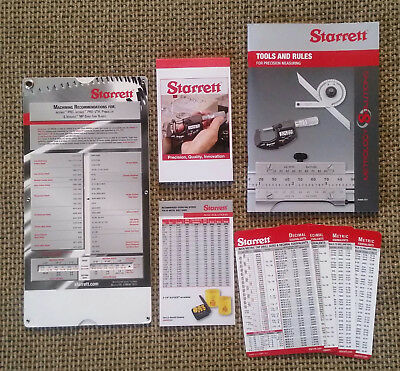 Starrett Tools & Rules - Machinist Pocket Cards - Bandsaw & Hole Saw Charts