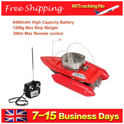 Upgrated RC Bait Boat Carp Fishing Runtime 5 Hours Anti Grass W/ 6400mAh Battery