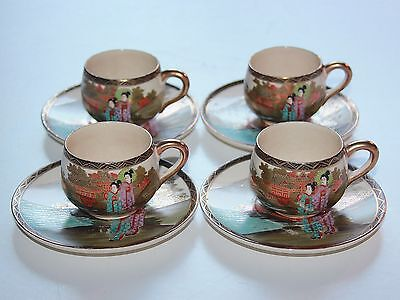 4 Japanese Satsuma Cups With Saucers.