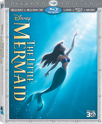 The Little Mermaid (3D/Blu-ray/DVD, 2013, 3-Disc Set) Out of Print w/ mint slip!