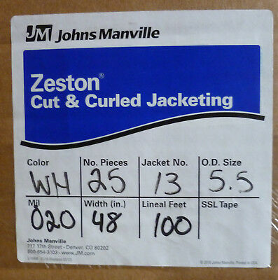 "Zeston PVC Cut & Curled Jacketing 20 Mil 48"" W 100' 25 pieces #13 (5.5 od)"
