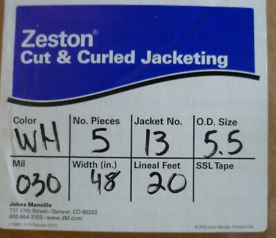 "Zeston PVC Cut & Curled Jacketing 30 Mil 48"" W 20' 5 pieces #13 (5.5 od)"