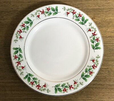 """4 SALAD PLATES  Gibson Everyday - Holly Berry Christmas Charm SET of 4   7-5/8"""""""