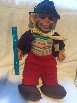 Vintage Rushton  Rubber Face Hobo Plush Doll, Felt Hat, Freddie Free Loader  20""