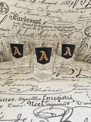 MCM Shot Glasses 60's Atomic Lot Of 3 Monogrammed A Gold Star Burst Pattern