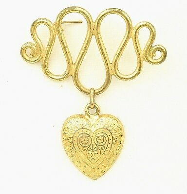 Stunning Rare Art Nouveau Heart Serpent Articulating Dangle C Clasp Brooch