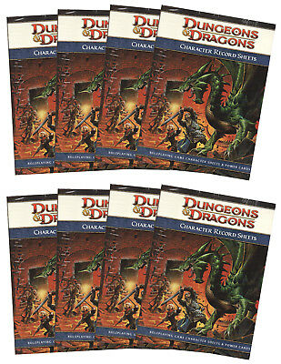 8 x Dungeons & Dragons-D&D-Character Record Sheets-Rollenspiel-RPG-d20-OVP-new