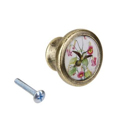 Vintage Round Metal Pulls Handle Drawer Cabinet Door Handle Flower Bird #2