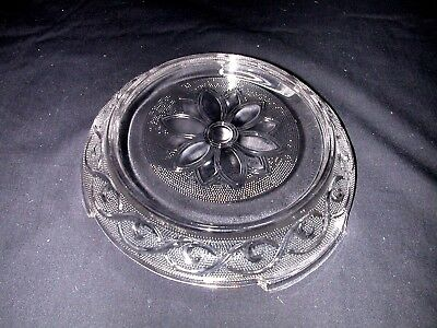 Vtg Anchor Hocking Clear Daisy / Sandwich Punch Bowl Stand Base Mint