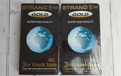 2 x Strand E180 Gold Super High Quality 3 Hour Blank VHS Video Cassette Tapes