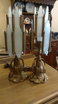 Antique Vintage Art Nouveau Art Deco Pair of Lamps
