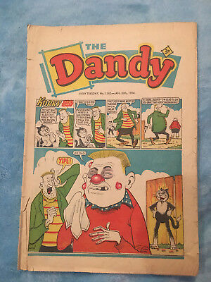 Dandy Comic No 1365 January 20th 1968, Vintage UK Korky the Cat, Desperate Dan