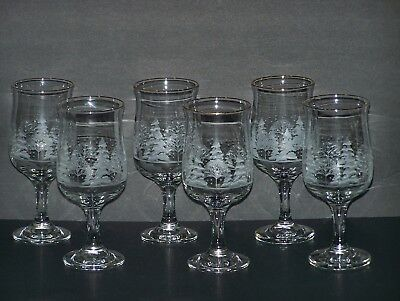 Set of 6  Arby's White Christmas Holiday Tulip  Stemmed Glasses