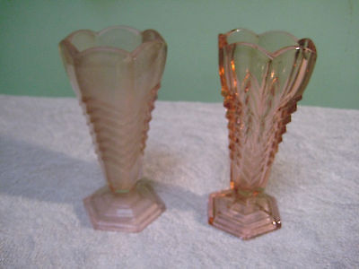 2 Davidson Chevron Vases Frosted  And Clear Pink Art Deco Vintage Pressed Glass
